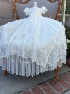 Ivory Victorian Inspire Lace Christening by ElenaCollectionUSA, $375.00