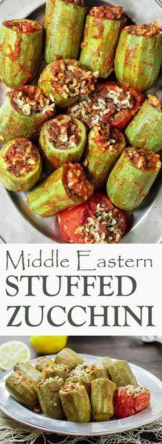 Stuffed Zucchini | The Mediterranean Dish. cougette doormidden, vullen zoals tomaat