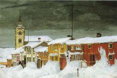 Artist: Harald Sohlberg (Norway 1869-1935) Title: Efter snestorm, Lillegaten Røros Painted: 1903