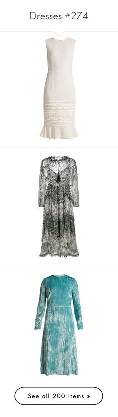"""Dresses #274"" by bliznec ❤ liked on Polyvore featuring dresses, cream, lace dress, white lace dress, midi flare dress, embroidered dress, lace midi dress, black, ruffle dresses and zimmermann"