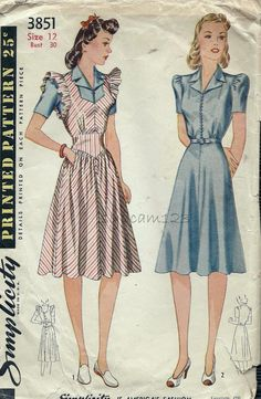 Vintage 1940s Shirtwaist Dress and Pinafore by sydcam123 on Etsy, $24.00