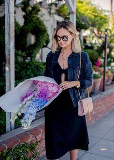 cutout dress and black denim jacket