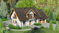 Projekt domu z poddaszem Dom przy Wiosennej 12 o pow. 170 m2 z garażem 1-st., z dachem dwuspadowym, z wykuszem, sprawdź! Jacuzzi, Courtyard House Plans, Attic House, Simple House Design, Micro House, Roof Design, Wooden House, Design Case, Traditional House