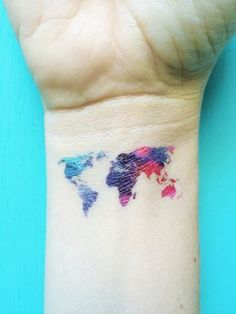watercolor map tattoo world map temporary tattoos by happytatts