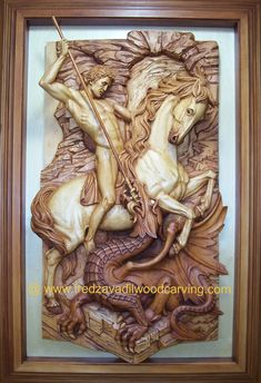 Relief woodcarving, St. George, Fred Zavadil