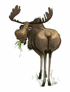 Moose by Guillermo Ramirez Moose Decor, Moose Art, Cute Animal Illustration, Illustration Art, Animal Illustrations, Moose Cartoon, Funny Moose, Moose Pictures, Foto Art