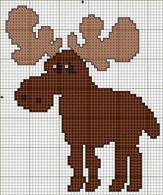 counted cross stitch pattern of a moose Counted Cross Stitch Patterns, Cross Stitch Charts, Cross Stitch Embroidery, Punch Needle Patterns, Motifs Animal, Cross Stitch Animals, Knitting Charts, Crochet Chart, Stuffed Animal Patterns