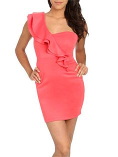 Tiered Ruffle One Shoulder Dress from ArdenB.com