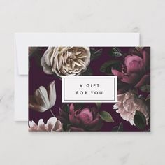 Elegant Dark Floral on Black Gift Certificate Salon Business Cards, Business Gifts, Business Card Holders, Business Supplies, Burgundy Flowers, Plum Purple, Company Gifts, Ivory Roses, Gift Certificates