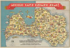 """Pictorial map of Latvia, 1938 - """"Explore your native land!"""" (Hi-res in comments) Professional Photo Printer, Pictorial Maps, Tourist Map, Cartography, Mug Designs, Geography, Vintage World Maps, Diagram, Europe"""