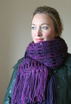 Chunky Crochet Scarf. Shades of Purple and Blue. Extra Long Tassels and Fringe. Purple Scarf. Crochet Scarf