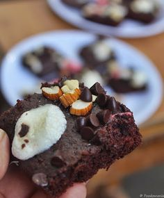 Rocky Road Brownies Recipe with step by step pictures - a simple brownie topped with nuts, chocolate and roasted marshmallows!  #BrownieLove #RockyRoadBrownies #Yum