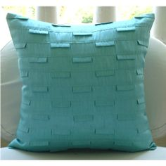 Blue Ocean - Throw Pillow Covers - 20x20 Inches Silk Pillow Cover in Sea Blue. $25.80, via Etsy.