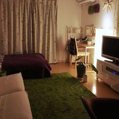 atsukunさんの、部屋全体,無印良品,ナチュラル,IKEA,雑貨,ソファ,ベッド,ワンルーム,間接照明,一人暮らし,3Coins,田舎,一階,大東建託,のお部屋写真