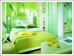 Green bedroom with Green furniture