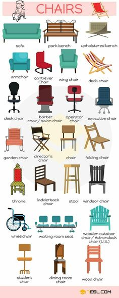 Different Types of Chairs in English - ESLBuzz Learning English : English Vocabulary: Different Types of Chairs – ESL Buzz English Time, Learn English Words, English Study, English Class, English Lessons, Education English, Kids English, English Vocabulary Words, Grammar And Vocabulary