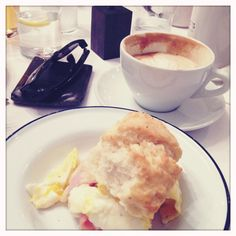 Smoked honey ham, fried egg, biscuit and a salted caramel latte from Atlantic No 5 in downtown Louisville.