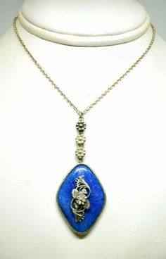 Vintage Art Deco Sterling Silver and Blue Glass Floral Necklace #Pendant