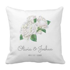 White Roses Wedding Throw Pillow - home gifts ideas decor special unique custom individual customized individualized