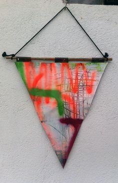 Hermann Josef Hack, Wimpel, 140809, painting and spray paint on tarpaulin, 2014