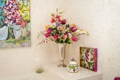 Custom Silk Flower Arrangement with Tulips, Lys, Orchids and Green Foilage