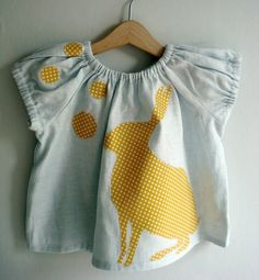Blue/Yellow Bunny Blouse  612mths 12yrs 23yrs by TreefallDesign, $32.00