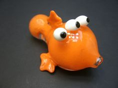 Blinky the ThreeEyed Mutant Fish Chillum Glass by InfernoValley, $30.00
