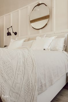 The Insanely Inexpensive Farmhouse Style Bedding Hack Transform your farmhouse style bedding with this 15 dollar hack! Stylish Bedroom, Cozy Bedroom, Bedroom Decor, Master Bedroom, Cottage Bedrooms, Modern Bedroom, Bedroom Ideas, Farmhouse Style Bedding, Farmhouse Curtains
