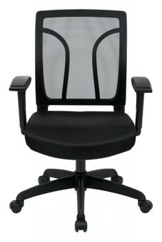 EM Series Black Screen Back Chair w/Mesh Seat w/Height Adjustable Arms