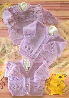 PDF Digital Download Vintage Knitting Pattern Baby Eyelet Textured Cardigans Sweater Round V Necks Chest 16 - 22