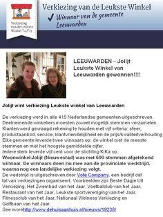 Wij zijn WINNAAR geworden  met de  leukste winkel verkiezing in de gemeente Leeuwarden.  Nu gaan we voor de provinciale ronde en hebben opnieuw jullie stemmen nodig.   http://leukstewinkelverkiezing.nl/verkiezing/285/stem/    alvast bedankt! het Jolijt team!