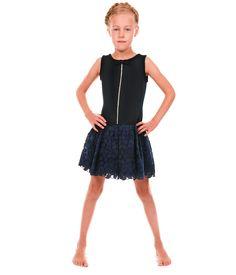 #Monnalisa Blå kjole med blonder