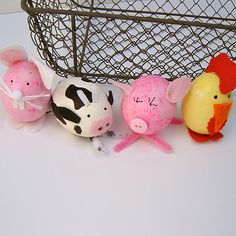 Farm Animal Easter Eggs-great to recycle plastic Easter eggs