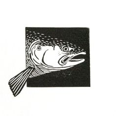 Animaux de linogravure saumon zalm sticker imprimé