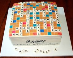 Scrabble Cake - This was for my dad and stepmom's combined birthday celebration. They are Scrabble finatics! It was important to add all the kids and grandkids names with a few nicknames, so the board arrangement took a while to work. The game board was an edible image and the playing tiles were gumpaste with edible marker. They were thrilled!