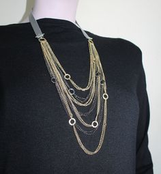 Gold++And+Grey+Multi+Chain+Necklace+/+Grey+Gold+by+Justlena,+$27.00