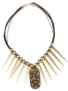 Gold Skull Spike Beaded Necklace #SheInside