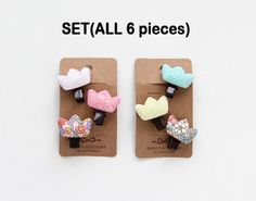 Infant Crown Hair Clips 6pcs SET/ baby Hair Clips / by muzeday