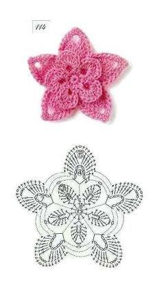 Crochet star and flower.