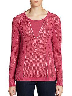 Open-Knit V-Neck Cotton Top