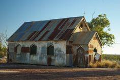 rusty corrugated iron church in Lightning Ridge NSW