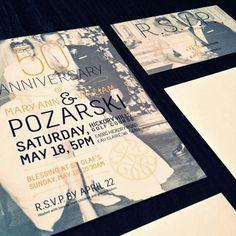 GotPrint modern anniversary invitations or postcards