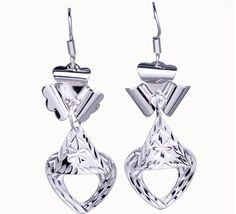 $3.97  55x18mm Charm Crystal Heart Dangle 925 Sterling Silver Earrings Hook Eardrop Jewelry