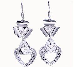 $3.97  55x18mm Charm Crystal Heart Dangle 925 Sterling Silver Earrings Hook Eardrop Jewelry