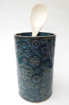 Ceramic Utensil Holder, Kitchen Dinning Room, Blue Texture, Handmade Ceramic, Flower Vases, Ceramic Pottery, Slate, Crock, Ceramics
