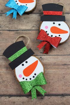 A fun hands on craft - help kids make these cute snowmen ornaments to decorate the tree or classroom! These are the best kid activities to get your children excited for the winter season! Screen free winter activities kids can do in school, at home, and at day care. You'll love this list of 24 simple but fun snowman themed crafts!
