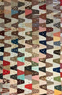 Tumbler scrap quilt of many cotton prints, about One of the reasons I've been indexing charm patterns or tessellations . Lap Quilts, Scrappy Quilts, Small Quilts, Mini Quilts, Antique Quilts, Vintage Quilts, Quilting Projects, Quilting Designs, Tumbling Blocks Quilt
