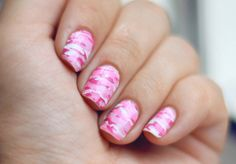 Pink Camouflage Nail Art
