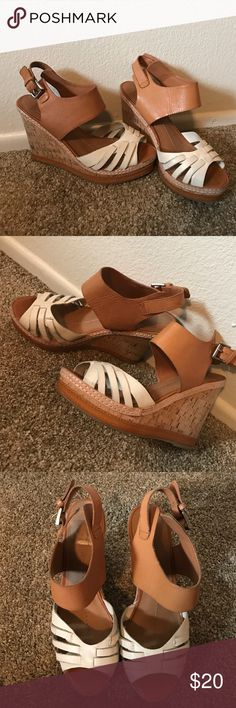 DV by Dolce Vita Wedges - Size 7.5 Loved wedges by DV Dolce Vita in Orange Tone and white. Cork heels. These are extremely comfortable as you can tell from their wear. Cute with jeans, shorts, skirts or dresses for any occasion DV by Dolce Vita Shoes Wedges