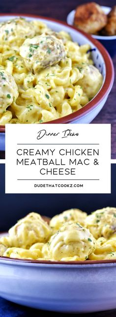 **meatballs were with turkey—so good!**you are ever in the mood for a really good cheesy pasta dish, paired with flavorful meatballs, this Creamy Chicken Meatball Mac & Cheese dish will put a smile on the faces of your entire family. Pasta Recipes, Chicken Recipes, Dinner Recipes, Cooking Recipes, Casserole Recipes, Macaroni Recipes, Chicken Meals, Yummy Recipes, Dinner Ideas